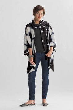 Tortoise Shibori Jacket by Laura Hunter. Hunter's roots as a textile artist are evident in this sumptuous hand-dyed piece. Part wrap, part jacket, it's made of soft, lightly felted wool with a striking itajime shibori pattern.