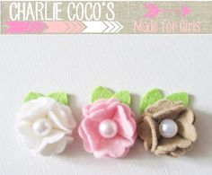 Newborn Baby Girl Felt Flower Hair Clips Baby Felt by CharlieCocos, $15.95