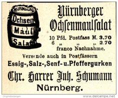 Original-Werbung/ Anzeige 1899 - NÜRNBERGER OCHSENMAULSALAT / HARRER / INH. SCHUMANN - NÜRNBERG - ca. 45 X 40 mm