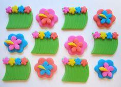 Fondant Cupcake Toppers  Luau Hula Skirt by CakesAndKids on Etsy, $18.00