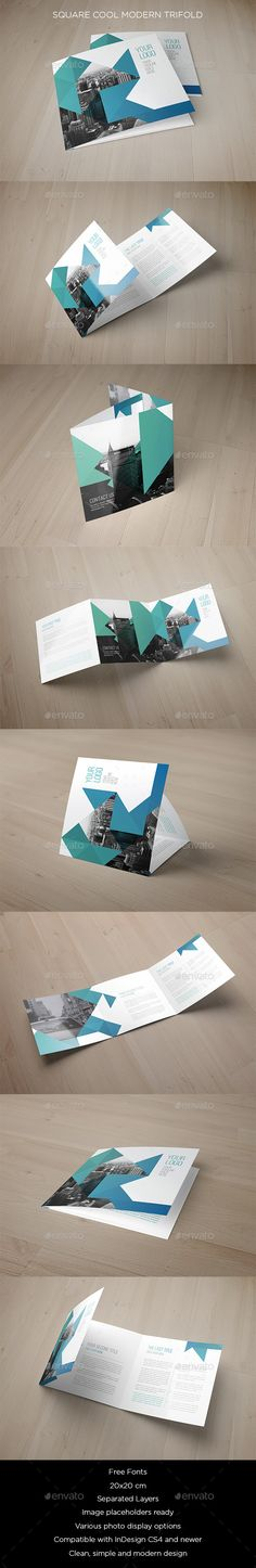 Square Cool Modern Trifold — InDesign INDD #blue #square • Available here → https://graphicriver.net/item/square-cool-modern-trifold/11630167?ref=pxcr