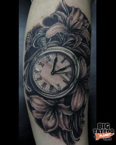 pocket watch tattoo, no flowers though Dad Tattoos, Time Tattoos, Body Art Tattoos, Sleeve Tattoos, Sick Tattoo, Arm Tattoo, Old Clock Tattoo, Lilies Drawing, Cobra Tattoo
