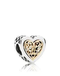 PANDORA Charm - 14k Gold & Sterling Silver Locked Hearts