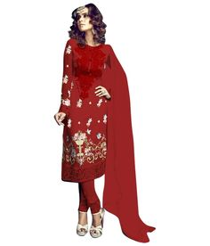 Naksh - Red Georgette Embroidered Churidar Suit