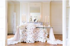 Floral wedding table | Image by Le Secret d'Audrey, see more http://www.frenchweddingstyle.com/paris-wedding-inspiration/