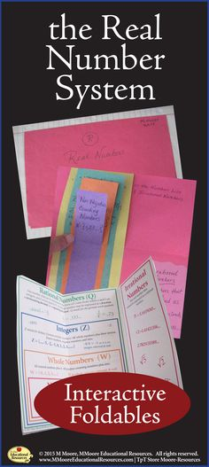 Engage your students with these Real Number System Foldables for students learning about the Number System! Great for interactive notebooks. Teaching Reading, Teaching Math, Teaching Ideas, Interactive Math Journals, Math Notebooks, School Resources, Teacher Resources, School Days, School Stuff