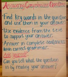 Answering Comprehension Questions