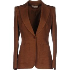 Emilio Pucci Blazer (3.900 BRL) ❤ liked on Polyvore featuring outerwear, jackets, blazers, brown, single breasted jacket, long sleeve jacket, long sleeve blazer, brown blazer jacket and brown jacket