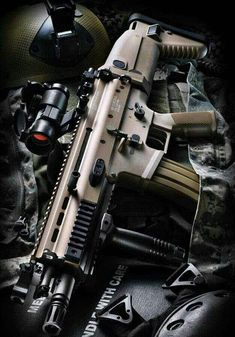 """SCAR-L: Combat Assault Rifle - L for """"light"""" using the Nato round vs the SCAR-H with uses the NATO - this is among my favorite weapons to shoot. Airsoft Guns, Weapons Guns, Guns And Ammo, Assault Weapon, Assault Rifle, Zombie Assault, Tactical Rifles, Firearms, Sniper Rifles"""