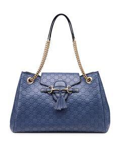 Gucci Emily Guccissima Leather Shoulder Bag, Blue New  #Gucci #ShoulderBag