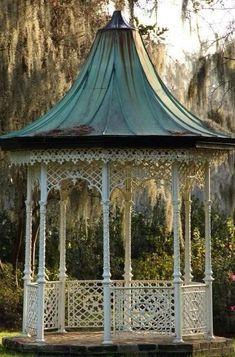 Copper roof gazebo at Magnolia Plantation, Charleston, SC Gazebo Pergola, Garden Gazebo, Gazebo Ideas, Pagoda Garden, Gazebo Plans, Victorian Gardens, Victorian Homes, Outdoor Rooms, Outdoor Living