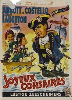 Belgian poster for Abbott and Costello Meet Captain Kidd (Charles Lamont, USA, 1952).