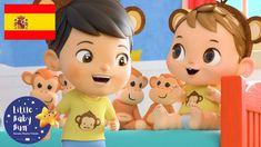 NUEVA CANCIÓN | Cinco Monitos Saltando en la Cama | Dibujos Animados | L... Little Babies, Nursery, Baby, Five Little Monkeys, Two Buns, Cartoon, Beds, Songs, Baby Room