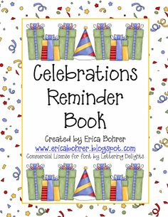 Back to School Organizational Forms and Free Celebrations Reminder Book