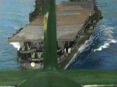 aircraft carrier Zuikaku: a view from a Aichi D3A1 Val dive bomber showing the aircraft carrier Zuikaku during military exercises (september 1944)