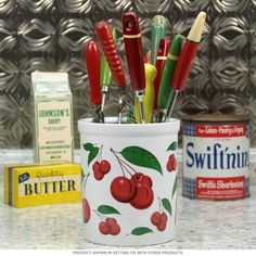 This Red Cherries Ceramic Kitchen Crock Holds All Your Cooking Utensils Craft Supplies Pens Pencilore Made Of Porcelain Decorated With Vintage