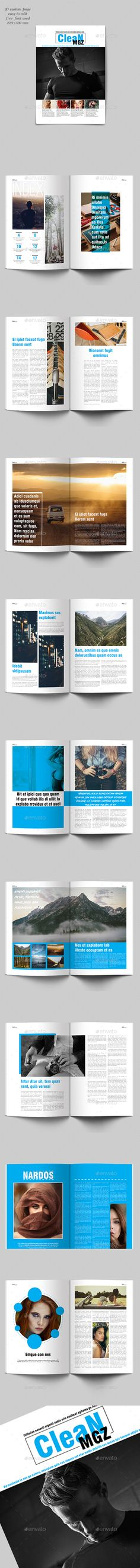Clean Magazine Template InDesign INDD