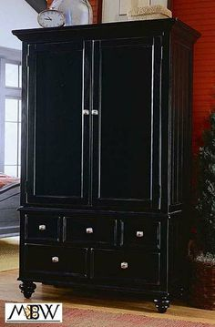 distressed+furniture | Distressed Black TV Entertainment Armoire Wardrobe Closet