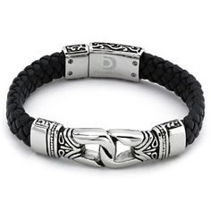 Amazon.com: Braided Black Leather Men's Bracelet Stainless Steel: Jewelry