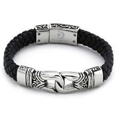 Amazon.com: Braided Black Leather Men's Bracelet Stainless Steel: Jewelry