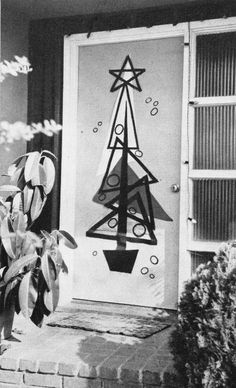 Mid Century Holiday Door Decor