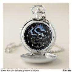 Silver Metallic Dragon Pocket Watch Personalized Pocket Watch, Pocket Watches, Make A Gift, Cool Watches, Portal, Metallic, Dragon, Quartz, Man Shop
