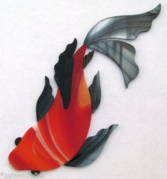 Butterfly koi fish stained glass inlay  kit. Great for your mosaic pond.