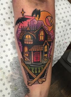 Super tattoo ideas for guys sketches half sleeves nightmare before christmas 19 Ideas God Tattoos, Future Tattoos, Body Art Tattoos, Sleeve Tattoos, Tatoos, Fake Tattoos, Pretty Tattoos, Beautiful Tattoos, Haunted House Tattoo