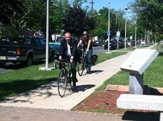 Mayor Bermudez and Gary Halloway biking in to work today.
