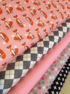 Fabulous Fox Fabric Bundle of 5, Woodland Animal, by Andie Hanna and Robert Kaufman- Nursery fabric, Bedding fabric, Pink Quilt Fabric