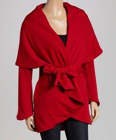 Red Tie-Waist Shawl Collar Sweater