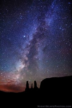 Milky Way - Monument Valley Royce's NightScapes Milky Way over Three Sisters, Monument Valley Navajo Tribal Park.
