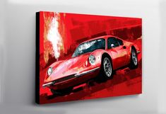Excited to share this item from my shop: Ferrari Dino Red painting large wall art. White Horse Painting, Car Painting, Painting Prints, Canvas Prints, Art Prints, Ferrari Rouge, Automotive Carpet, Automotive Industry, Jeep Gifts