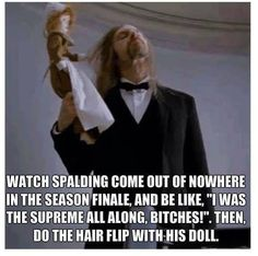 American Horror Story: Coven #Spalding #Hairflip I died when he did the hair flip 2 episodes ago. Lost it.