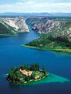 Visovac Island with Franciscan monastery, Croatia
