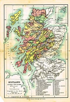 "Johnston's Scottish Tartans - ""SCOTLAND DIVIDED INTO CLANS - MAP"" - Chromolithograph - c1899"
