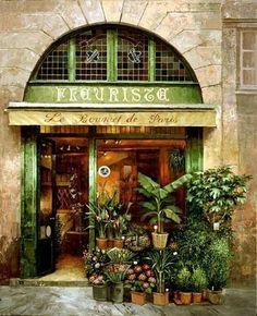 "Photo from album ""Париж - rincones parisinos"" on Yandex. Storefront Signs, Decoration Vitrine, Shop Facade, Paris Cafe, Shop Fronts, Garden Shop, Store Displays, Shop Signs, Beautiful Places"