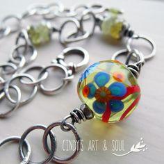 Green Garnet Lampwork Necklace Handmade Silver Chain