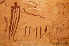 transformation panel in ochre alcove, san rafael swell, utah Ancient Mysteries, Ancient Artifacts, Fresco, Mural Painting, Cave Painting, Cave Drawings, Tempera, Fractal, Aboriginal Art