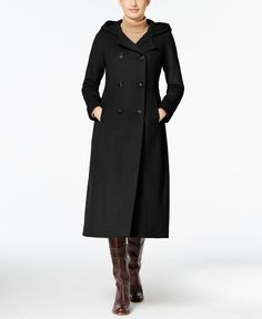 Anne Klein Hooded Wool-Cashmere Double-Breasted Maxi Coat | Coats