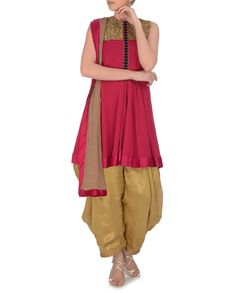 EXPRESSIONIST BY JASPREET Cardinal Red and Golden Patiala Suit