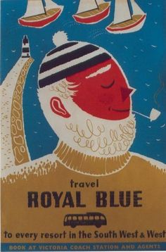 'TRAVEL ROYAL BLUE' (1957) | Daphne Padden: Travel poster. By coach 'to every resort in The South West and West'     ✫ღ⊰n
