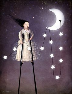 Where the starlight begins by Catrin Welz-Stein clever whimsical,prim grimm and fairy art illustration.by the light of the silvery moon Digital Collage, Digital Art, Sun Moon Stars, Paper Moon, Good Night Moon, Wassily Kandinsky, Moon Art, Whimsical Art, Surreal Art