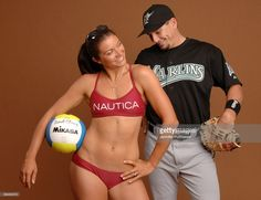 Olympic Beach Volleyball Player Misty May poses for portraits with her husband Matt Treanor, catcher for the Florida Marlins. The two posed together in April of 2005.