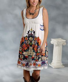 Look what I found on #zulily! Roper White & Blue Floral Sleeveless Dress - Women by Roper #zulilyfinds