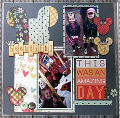 Beautiful Amazing Day - Scrapbook.com - Fun Disney layout with Grapevine Design chipboard