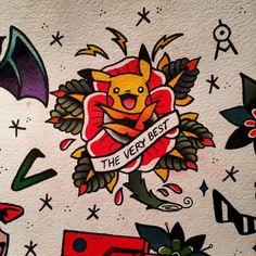 Traditional Pikachu Pokemon Tattoo Designs