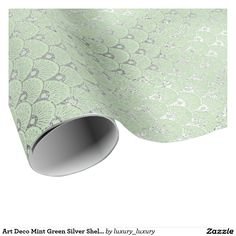 Art Deco Mint Green Silver Shells Vip Wrapping Paper