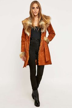 Pins & Needles Faux-Fur Belted Suede Jacket