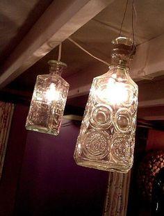 vintage glass bottles reused as lights!